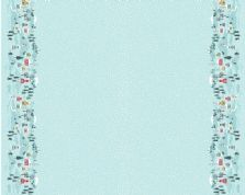 Lewis & Irene - Snow Day - 6006 - Blue Scenic Border Print  - C41.3 - Cotton Fabric